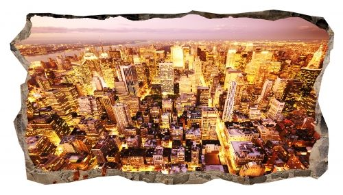 3D Mural Wall Art The golden city, Glowing in the dark, 2.20 x 1.20 m