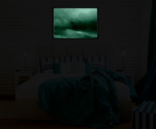Luxury Framed Wall Art Ship on the storm, Glowing in the dark, 50 x 70 cm