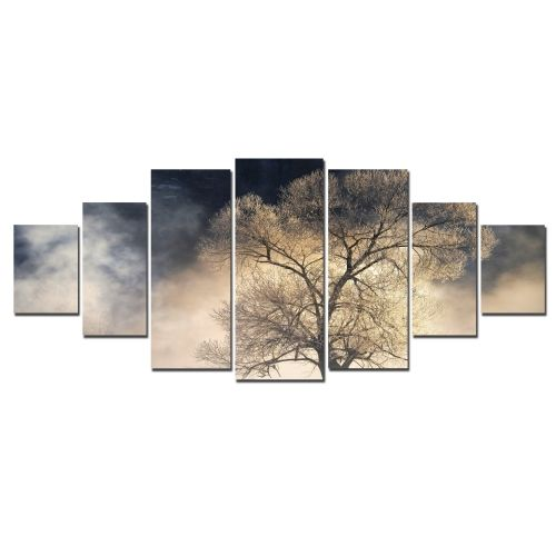 Canvas Wall Art The mysterious tree, Glowing in the dark, Set of 7, 100 x 240 cm (1 panel 40 x 100 cm, 2 panels 35 x 90 cm, 2 panels 30 x 60 cm, 2 panels 30 x 40 cm)