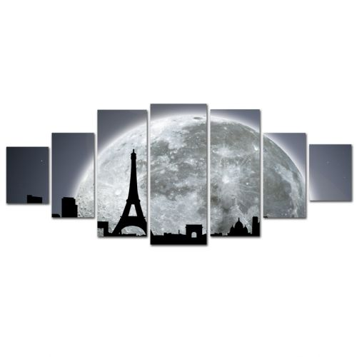 Canvas Wall Art Paris under the moonlight, Glowing in the dark, Set of 7, 100 x 240 cm (1 panel 40 x 100 cm, 2 panels 35 x 90 cm, 2 panels 30 x 60 cm, 2 panels 30 x 40 cm)