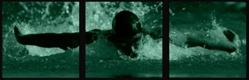 Canvas Wall Art Olympic swimming, Glowing in the dark, Set of 3, 60 x 180 cm (3 panels 60 x 60 cm)