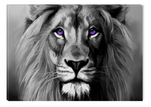 Black and White Abstract Canvas Wall Art King of Beast, nature, landscape, lion, set, for bedroom, living room, kitchen room, modern, decor, prints, painting