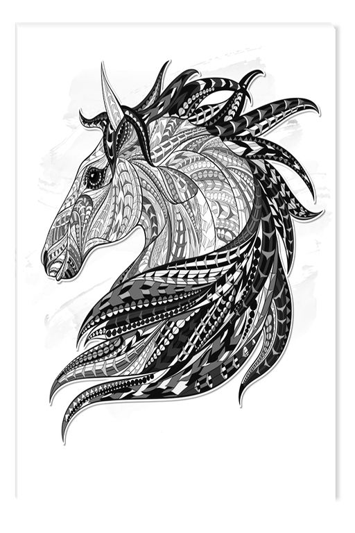 Black And White Abstract Canvas Wall Art Horse In Pencil Glowing In The Dark 80 X 120 Cm
