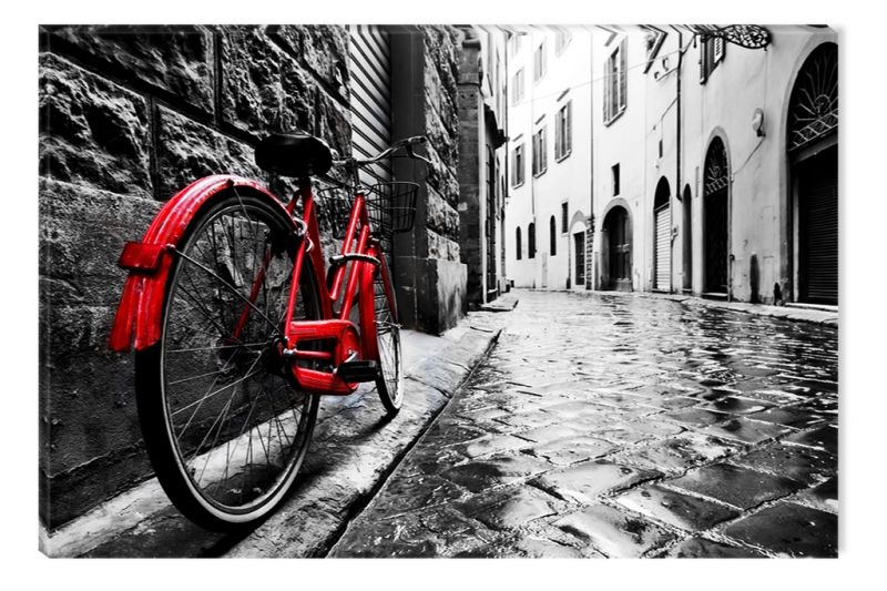 Black And White Abstract Canvas Wall Art Red Bicycle Eco Light 60 X 90 Cm