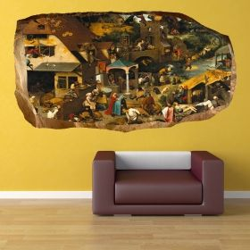 3D Mural Wall Art Holiday in Europe, Glowing in the dark, 1.50 x 0.82 m