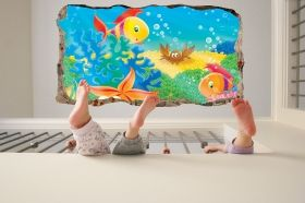 3D Mural Wall Art The fish window, Glowing in the dark, 1.50 x 0.82 m