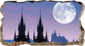 3D Mural Wall Art Moon over Prague, Glowing in the dark, 1.50 x 0.82 m