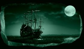 3D Mural Wall Art The moon and the ship, Glowing in the dark, 1.50 x 0.82 m