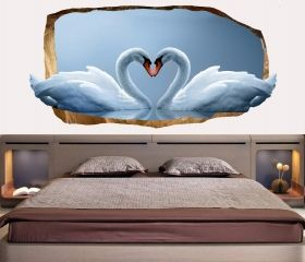 3D Mural Wall Art Swans in love, Glowing in the dark, 1.50 x 0.82 m