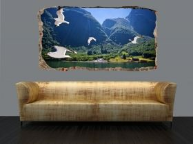 3D Mural Wall Art Birds in flight, Glowing in the dark, 1.50 x 0.82 m