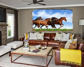 3D Mural Wall Art Horses in the gallop, Glowing in the dark, 1.50 x 0.82 m