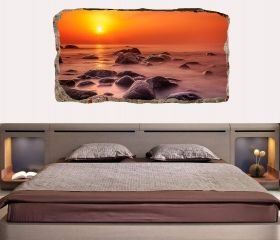 3D Mural Wall Art Red sunset, Glowing in the dark, 1.50 x 0.82 m