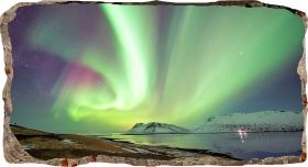 3D Mural Wall Art Aurora Borealis, Glowing in the dark, 1.50 x 0.82 m