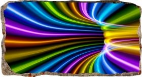 3D Mural Wall Art Colorful tunnel, Glowing in the dark, 1.50 x 0.82 m