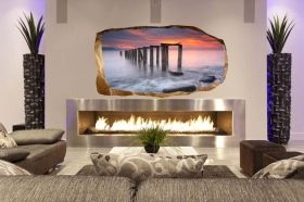 3D Mural Wall Art Sunset on the beach, Glowing in the dark, 1.50 x 0.82 m