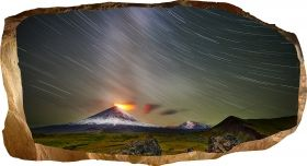 3D Mural Wall Art Vulcano eruption, Glowing in the dark, 1.50 x 0.82 m