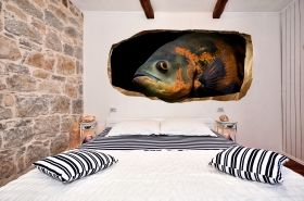 3D Mural Wall Art Fish knows everything, Glowing in the dark, 1.50 x 0.82 m