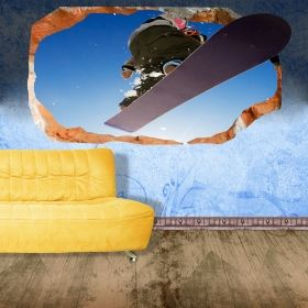 3D Mural Wall Art Snowboard, Glowing in the dark, 1.50 x 0.82 m