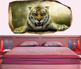 3D Mural Wall Art Tiger, Glowing in the dark, 1.50 x 0.82 m