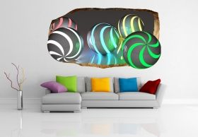 3D Mural Wall Art Many Colours, Glowing in the dark, 1.50 x 0.82 m