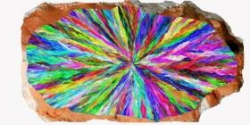 3D Mural Wall Art Colorful hypnotic, Glowing in the dark, 1.50 x 0.82 m