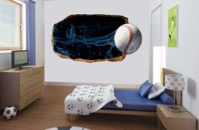 3D Mural Wall Art Base-ball, Glowing in the dark, 1.50 x 0.82 m