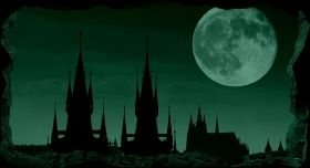 3D Mural Wall Art Moon over Prague, Glowing in the dark, 2.20 x 1.20 m