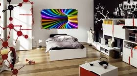 3D Mural Wall Art Colorful tunnel, Glowing in the dark, 2.20 x 1.20 m