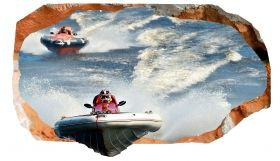 3D Mural Wall Art Motor boats, Glowing in the dark, 2.20 x 1.20 m