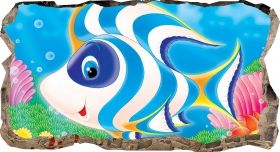 3D Mural Wall Art Happy fish, Glowing in the dark, 2.20 x 1.20 m