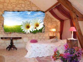 3D Mural Wall Art Daisies, Glowing in the dark, 2.20 x 1.20 m
