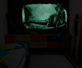 3D Mural Wall Art Jurassic Dinosaur, Glowing in the dark, 2.20 x 1.20 m