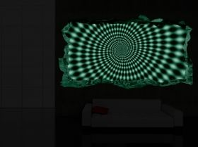 3D Mural Wall Art Hypnotic Black & White, Glowing in the dark, 2.20 x 1.20 m