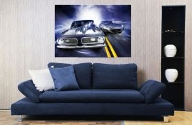 Canvas Wall Art Car Race, Glowing in the dark, 60 x 90 cm
