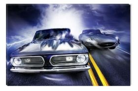 Canvas Wall Art Car Race, Glowing in the dark, 80 x 120 cm