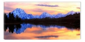 Canvas Wall Art The mirror of the mountains, Glowing in the dark, 60 x 120 cm