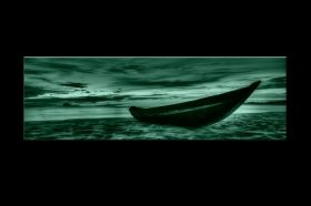 Canvas Wall Art The boat on the sand, Glowing in the dark, 40 x 120 cm