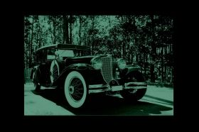 Canvas Wall Art Black car of the era, Glowing in the dark, 60 x 90 cm
