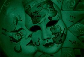 Canvas Wall Art Musical masks, Glowing in the dark, 80 x 120 cm