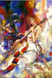 Canvas Wall Art Singing to the cello, Glowing in the dark, 60 x 90 cm