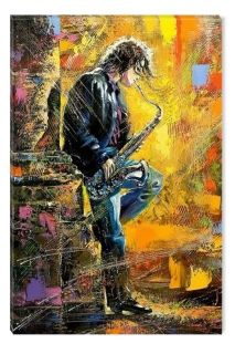 Canvas Wall Art Young man playing the saxophone, Glowing in the dark, 80 x 120 cm