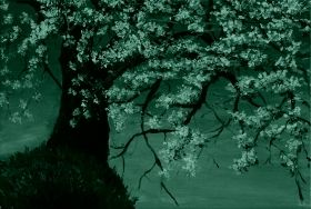 Canvas Wall Art Cherry branch, Glowing in the dark, 80 x 120 cm