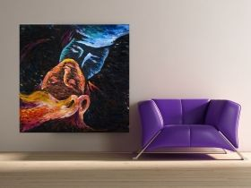 Canvas Wall Art Abstract Kiss, Glowing in the dark, 80 x 80 cm