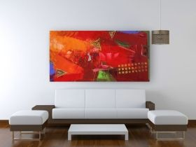Canvas Wall Art Abstract red, Glowing in the dark, 60 x 120 cm