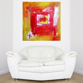 Canvas Wall Art Abstract window, Glowing in the dark, 80 x 80 cm
