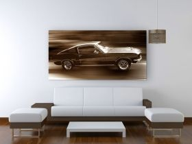 Tablou Ford Mustang, luminos in intuneric, 60 x 120 cm