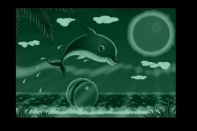 Canvas Wall Art Dolphin, Glowing in the dark, 60 x 90 cm