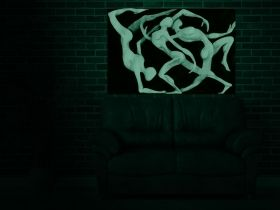 Canvas Wall Art Abstract silhouettes, Glowing in the dark, 60 x 90 cm