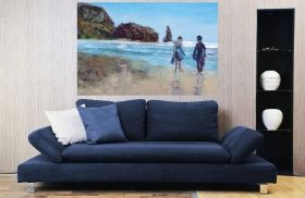 Canvas Wall Art Couple on the beach, Glowing in the dark, 80 x 120 cm