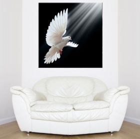 Canvas Wall Art White pigeons, Glowing in the dark, 80 x 80 cm